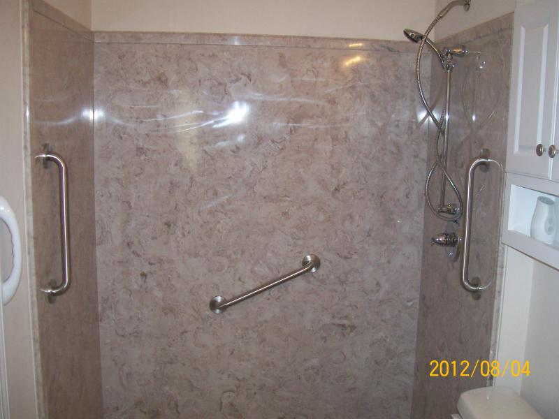 Cultured marble handicap shower